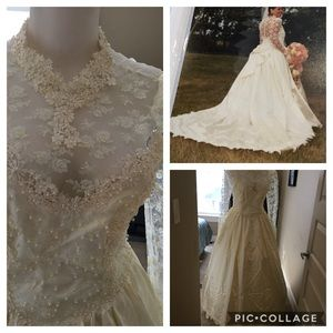 Vintage Ivory satin wedding gown over 5000 pearls